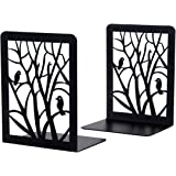 Book Ends, Book Ends for Shelves, Decorative Bookends for Heavy Books, Non-Skip Metal Bookends for School, Home or Office (Bl