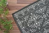 洗える! 綿混 玄関マット 屋内 用 シック モダン アーチ・デコ ゴブラン 織り 滑り止め 付き ダーク グレー 約 50×80 cm