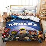Ro-blox 2-Piece Duvet Cover Set Ro-blox Bedding Sets Soft and Breathable with Zipper Closure Ultra Soft Microfiber Hotel Collection