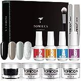 TOMICCA Dipping Powder Set With 4 Elegant Color, Top Coat Base Coat Activator Dark series