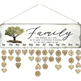 WISIEW Gifts for Grandma Family Birthday Tracker Calendar Board with 110 Wood Tags Important Dates Reminder Plaque Home Decor