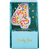 ILIKEPAR Colorful Candy Number Candles Cake Topper Candles for Brithday Party Baby Shower Wedding Supplies and Favors Four