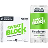 Sweatblock Excessive Sweat and Odor bundle [Clinical Strength Antiperspirant Sweat Wipes and Regular Antiperspirant Deodorant
