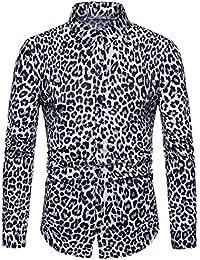 maweisong メンズクラシックレオパードプリントボタンダウンカジュアルロングスリーブシャツ