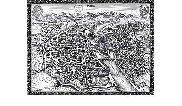 MAP ANTIQUE CITY PLAN PARIS FRANCE 30X40 CMS FINE ART PRINT ART POSTER BB8160