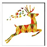 Stamped Cross Stitch Kit for Beginners 7 Color Deer Sewing Kit 46 x 46 cm Needlepoint Kit 11CT Animal Embroidery Kit Easy Mod
