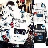 ホワイト L SBB2387 全体的にロゴを施した総柄ストリートスタイル!BIGBANG着用!ジップブルゾン 長袖シャツ ユニセックス ダンス HIPHOP