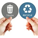 """VBAP CORP Recycle Trash Bin Sticker - (Pack of 4) 3"""" Round Logo Sign Decal Labels Self-Adhesive Vinyl Laminated. Waterproof I"""