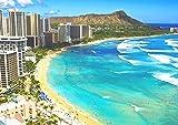 絵画風 壁紙ポスター (はがせるシール式) ハワイ ワイキキビーチ オアフ島 ダイヤモンドヘッド リゾート 海 キャラクロ HWI-020A1 (A1版 830mm×585mm) 建築用壁紙+耐候性塗料 …