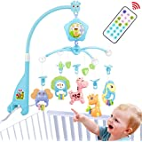 Baby Mobile for Crib, Baby cot Mobile with Lights and Music,Remote, Stroller Toys, Holder,Projector for Pack and Play (Blue-F