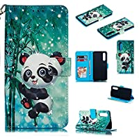 Abtory Huawei P30 ケース,Huawei P30 ケース Cover,Wallet ケース PU Leather 3D Painted Folio Flip Cover, Card Holder Stand ケース with Wrist Strap for Huawei P30 Panda