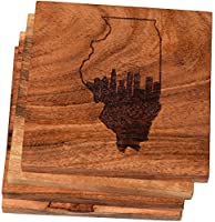 Engraved Chicago , Illinois Coasters ( Set of 4 )