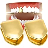 HuiYouHui 2 Pieces 14K Plated Gold Grillz Mouth Teeth, Hip Hop Teeth Plain , Top Tooth Single Grill Cap for Teeth Mouth, Part