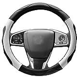 【Amazon限定ブランド】 ZATOOTO ハンドルカバー sサイズ 軽自動車 ステアリングカバー 3Dグリップ 滑り止め 車 アクセサリー 普通車 フィット感 ブラック+ホワイト LY06-BW