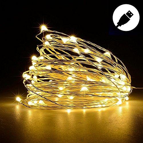RoomClip商品情報 - (BARVAX) LEDライト イルミネーションライト USB 10M 100球LED 防水 モバイル USB充電式 DC5V 【電球色 昼白色 多彩カラー 】クリスマス ツリー 飾り 屋外、室内の飾り ハイキング キャンプ ファッションショー (10m, 電球色)