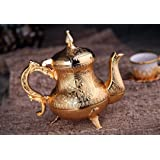 DEMMEX Turkish Moroccan Arabic Teapot Tea Beverage Serving Pot Pitcher, 25 Ounces (Gold)