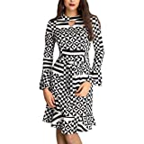 Womens Tunic Bell Sleeve Trendy Fitness Checkerboard Dress