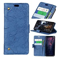 Moonmini Xiaomi Mi 8 Mi 8 Pro シェル, Xiaomi Mi 8 Mi 8 Pro 財布 シェル,表面, プレミアム スリム レザー 財布 バック シェル 〜と クレジット カード ID ホルダー 保護 カバー の Xiaomi Mi 8 Mi 8 Pro,Blue