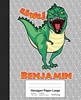 Hexagon Paper Large: BENJAMIN Dinosaur Rawr T-Rex Notebook (Weezag Hexagon Paper Large Notebook)
