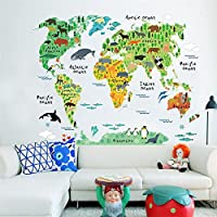 Weaeo 動物、カラフルな世界地図のウォールステッカーリビングルームホームデコレーション Pvc アート壁画オフィス Diy の壁の芸術の子供の部屋の入れ墨