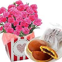 ピンクカーネーション5号鉢 文明堂どら焼き 花とスイーツ フラワーギフト 花鉢 母の日ギフト