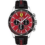 Ferrari Men's Pilota Stainless Steel Quartz Watch with Silicone Strap, Black, 22 (Model: 0830595)
