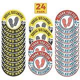 24 Pack 8-Inch Social Distancing Floor Sticker Decals - Bulk Professional Anti-Slip, Waterproof 6 Feet Social Distancing Floor Signs - Removable, for Hard Floors Or Carpet