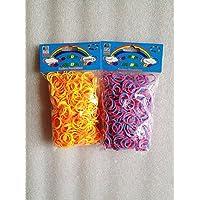 [Artasy ™][並行輸入品] DIY 2段 X 8段カラーゴムバンドブレスレット (オレンジ x イエロー + ピンク x ブルー) Loom Bands refill Pack - (600 + 600 pcs) rubber ring Color: orange X yellow + pink X blue