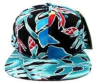 ブルーコーラルフローラル印刷スナップバック帽子キャップBirds of Paradise