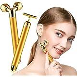 2-IN-1 Beauty Bar 24K Golden Face Massager 3D Roller Electric Beauty Bar and T Shape Face Massager Kit Face Lift Skin Tighten