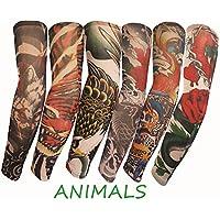 SHINA タトゥースリーブ アームカバー 6本セット TattooSleeve 日焼け止め タトゥースリーブ アームカバー 運動風 格好いい入れ墨アームカバー TattooSleeve-6pc-animal