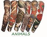 SHINA タトゥースリーブ  アームカバー 6本セット  TattooSleeve 日焼け止め タトゥースリーブ アームカバー 運動風 格好いい入れ墨アームカバー (TattooSleeve-6pc-animal)
