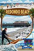 Redondo Beach , California – モンタージュシーン 24 x 36 Signed Art Print LANT-43538-710