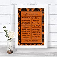 Burnt Orange Black Damask Love Vows パーソナライズされたウェディングサイン Medium Foam Mounted Print