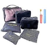 SEKAIIQIBAN アレンジケース 6点セットスーツケース トラベルポーチ 防水 歯ブラシケース付き 大容量 衣類 小物収納ポーチ 出張 整理用 (レッド)