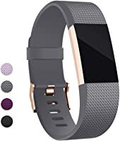 Hotodeal Band Compatible with Charge 2 Band, Classic Soft TPU Adjustable Bands Fitness Sport Strap Rose Gold Buckle,...