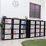 決算大セール 本棚 スライド スライド本棚 2台セット コミック スライド本棚 書棚 DVD収納 CD収納 大容量 棚 収納棚 オシャレ 木製 ダークブラウン TCP312D-DBR