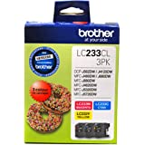 BROTHER Genuine LC233 Colour Ink Cartridge Value Pack, Three Pack, Includes 1 Cartridge Each of Cyan, Page Yield Up to 550 Pa