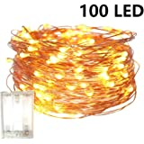 Fairy Lights Battery Operated, 10M/32.8ft/100 LED String Lights, Waterproof 3XAA Battery Case, Indoor Fairy String Lights for