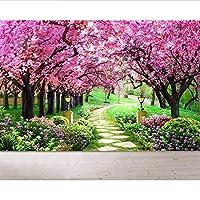 Wuyyii カスタム壁紙家の装飾壁画桜庭パス風景テレビ背景壁3Dリビングルーム壁画3D壁紙-450X300Cm