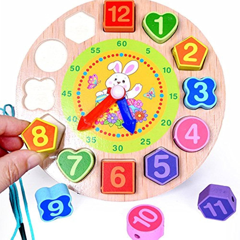 3d Woodedデジタルジオメトリクロック木製玩具でRabbit For Children 3 + ( clk-r )