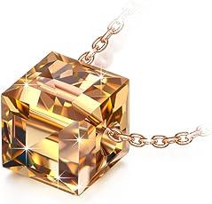 NINASUNスワロフスキーの水晶・クリスタル製(10金張り)S925純銀ネックレス レディースへ愛のプレゼント(化粧箱付き)