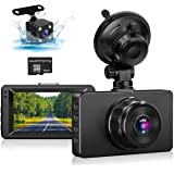 Dash Cam, Front and Rear DashCam 1080P Full HD Dual Dash Camera in Car Dashboard Camera with Night Vision,170 Wide Angle HDR