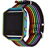Bandmax Compatible for Rainbow Nylon Fitbit Blaze Bands, LGBT Pride Watch Band Sport Strap Accessories with Colorful Frame Co