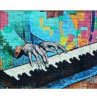 Lcymt カスタムモダンなファッションの壁紙手描きのピアノを弾く落書き-150X120CM