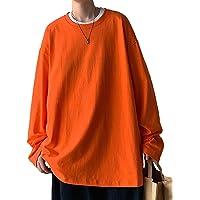 【Amazon限定ブランド】HONOUR FASHION 綿100% Tシャツ メンズ 長袖 ゆったり 無地 大きいサイ…