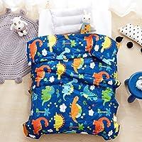 LIFEREVO Cotton Baby Toddler Blanket Spring Summer Quilt Fancy Cartoon Print Lightweight 43x60 Blue Dinosaur [並行輸入品]