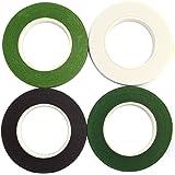 CCINEE フローラテープ 造花テープ (褐色 緑 深い緑 白色 4巻セット) 幅13mm×長さ23m