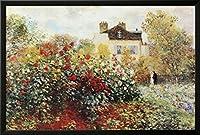 クロードモネThe Artist 's Gardenアートプリントポスターフレーム入りポスター38x 26in