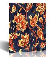 emvency絵画壁アートキャンバス印刷正方形12x 12インチペイズリー水彩花の鳥花FloresチューリップLeaves Oriental装飾木製フレーム 12x16 グレー